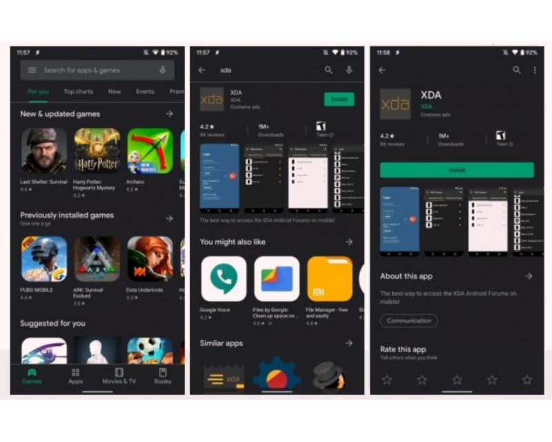 Google Play Store için karanlık mod!